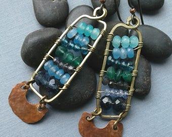 Dangle Gemstone Earrings, Mixed Metal, Brass Copper, Semiprecious Gemstones, Blue Aqua Beads, Hammered Copper, Niobium Ear Wires, Santa Fe