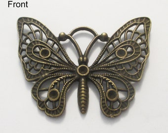 2 x Antique Bronze Butterfly Charm Pendants 48x36mm, Can Hold Rhinestones