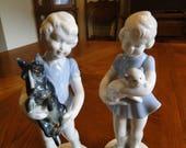 Retired German Democratic Republic (GDR) Figurine, Young Girl, Scottie Dog, Cat, 1970's, Kunstporzellan Ilmenau, Metzler & Ortloff