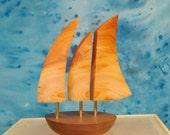 Small Galway Hooker Balancing Boat wooden sculpture -Irish Yew & American Walnut -FREE Christmas Gift Box -Free delivery Ireland-byRebornart