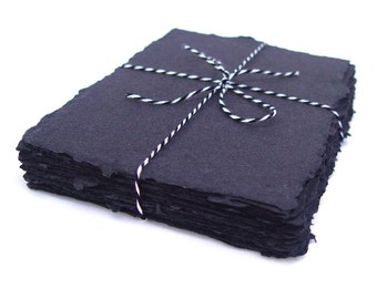 Black handmade recycled cotton paper, 10 small sheets, 3.5 x 5 inch