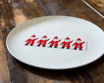 Georges Briard Designs Christmas Platter Dancing Santas 1960s Holiday Tray
