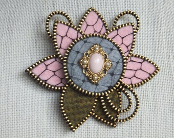 Zipper Brooch Flower, Pink and Grey