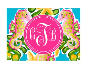 Digital Printable Personalized Monogram Notes with Coastal Nautical Tropical Seahorse in Pink CMO011