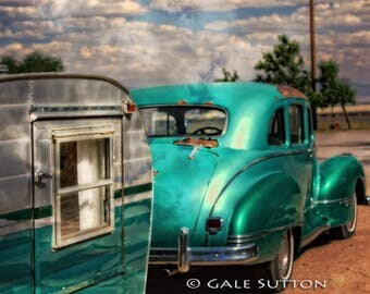 Route 66, Classic Car, Old Car Art, Vintage Trailer, Fine Art Photo, Man Cave, Retro, Americana, Gift for Guys, Home & Office Wall Art,