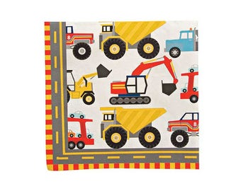 Big Rig Paper Napkins - Construction party boys childrens birthday