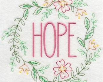 Hope Wreath Embroidered Towel | Flour Sack Towel | Linen Towel | Dish Towel | Kitchen Towel | Hand Towel | Embroidery
