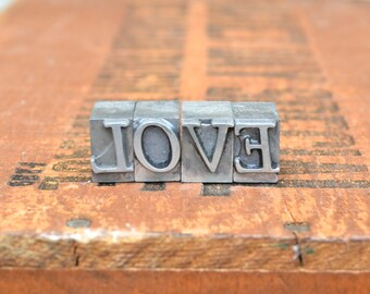 Ships Free - LOVE - Vintage letterpress metal type collection - wedding, anniversary, love, girlfriend, boyfriend, industrial TS1029