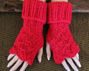 Fingerless Gloves, Red Arm Warmers, Wrist Warmers, Womens Chunky Wool Knitted Gloves, Australia, Nchanted Gifts