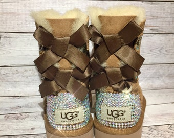 KIDS bling bailey bow ugg boots, girls bling custom ugg boots, girls Chestnut bling bailey bow ugg boots, girls gift, girl bling snow boots