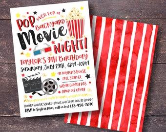 Movie Birthday Invitation, Backyard Movie Invitation, Movie Night Invitation,  Popcorn Invitation, Movie Party Invitation, Movie Party