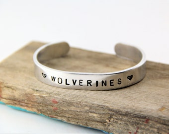 Michigan Wolverines Metal Stamped Cuff Bracelet