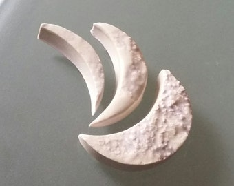 "Ceramic Moon Tile 1-3/4"" Crescent Moon Handmade Stoneware Tile for Mosaic Collage Art Assemblage"