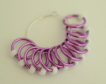 Large Purple White - Snagless - Dangle and Snag Free -  Stitch Markers - Light Weight