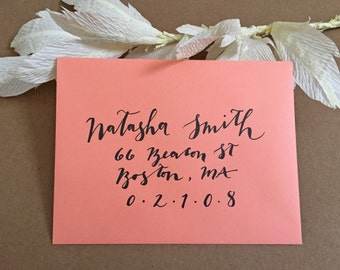 Calligraphy Hand-Lettered Wedding Envelope, Custom Wedding Addressed Invitations with Modern Calligraphy