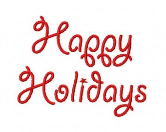 Happy Holidays Christmas script machine embroidery design 4 inch instant download