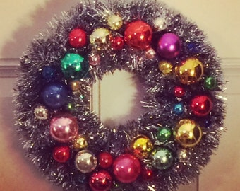 Vintage Glass Ornament Tinsel Wreath