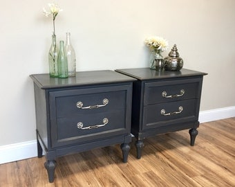 Black Night Stands - Hollywood Regency - Grey Nightstands - Vintage Furniture - Bedside Drawers - Night Tables