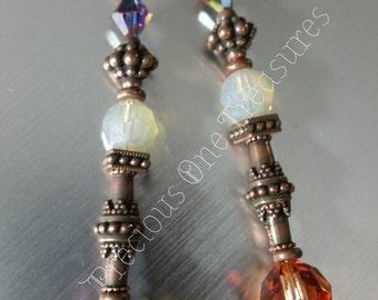 Copper  & Sand Opal Swarovski Crystal -Copper Earrings