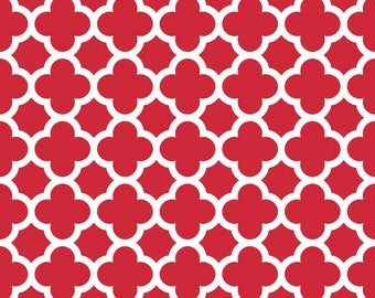 Quatrefoil Fabric/Red and White Basic/Cotton Yardage/Sewing Material/Riley Blake/Quilting, Clothing, Craft/Fat Quarter, Half or By he Yard