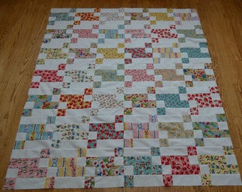 Quilt Top, Cherry Pint Flimsy, Pink, Red and Blue on White, Moda Fabric, OOAK, 48 by 56 Inches, Lap Size