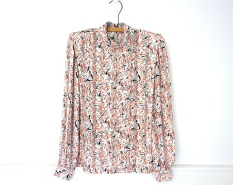 80s Secretary Blouse Pastel Multi Color Avante Garde Print Long Sleeve Silk Top