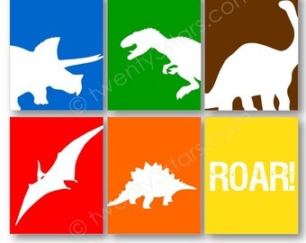 Dinosaurs Wall Canvas or Art Print Set, Triceratops, Tyrannosaurus Rex and Apatosaurus, Choose Any Colors, Nursery or Boys Room Art Print