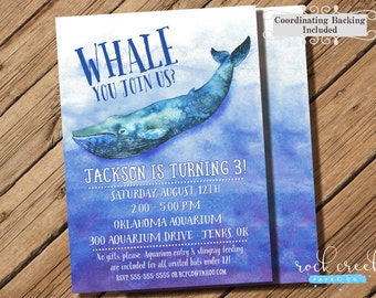 Blue Whale Invitation, Whale Birthday Party, Aquarium Birthday, Aquarium Invitation, Whale Party, Printable Birthday Party Invitation