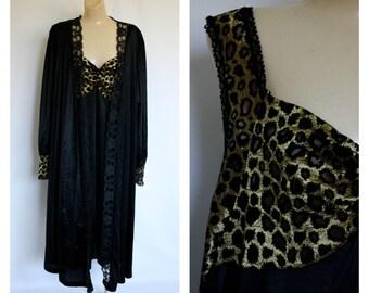 Vintage Animal Print Peignoir Set / Plus Size Black Leopard Peignoir / Two Piece Gown Robe Lingerie Set XL
