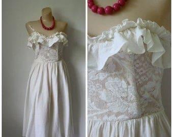 Sale Vintagae 70s Strapless Dress / 1970's Ruffle Dress / Vintage Bohemian Dress / Beach Wedding Dress / Strapless Ivory Dress  S