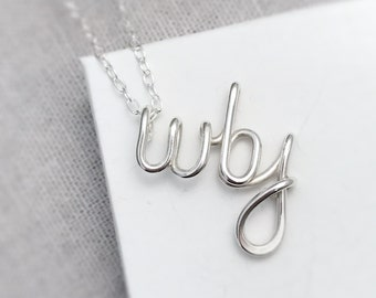 Silver Initials Necklace | Triple Initals | Mum Necklace | Children's Initials Necklace | Gift for Her | Silver Jewellery UK