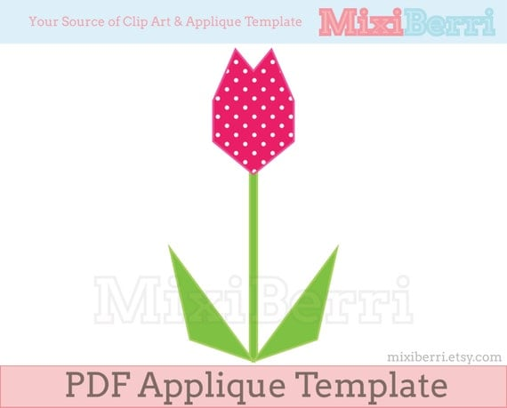 Geometric tulip hand applique template origami tulip - Applique origami ...