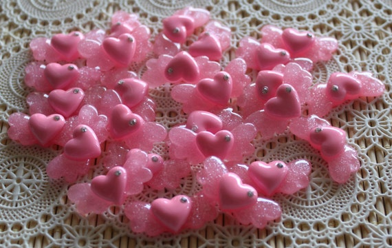 6 Pieces. Resin Flatback Cabochons 31mm Pink Shimmer Heart with Rhinestone