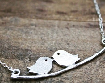 Lovebird necklace,Toddler jewelry,Girls jewelry,Womens necklace,Toddler necklace,Infant jewelry,Bird necklace,charm necklace,mommy and me