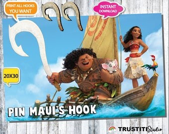 MOANA PARTY GAME Mauis Hook 20x30 Inches