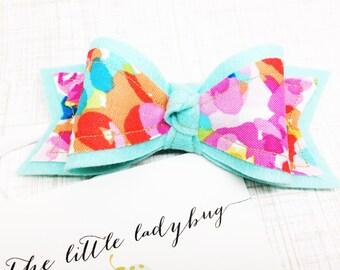 Aqua, Bubblegum Pink, and Tangerine Orange Watercolor Felt Bow Headband or Clip