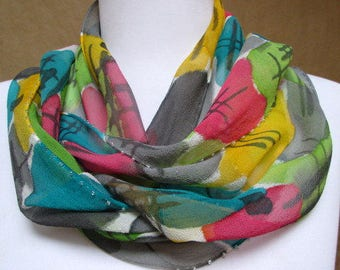 Silk scarf wrap accessory, hand painted chiffon- unique gift woman, art to wear designer artisan, one of a kind, grey yellow green