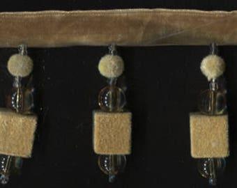 """2&1/2"""" Gold Beaded Velvet Tassel Fringe Trim"""