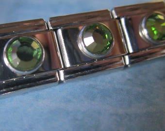 August Birthstone Peridot Italian Style Nomination Bracelet Charm Stainless Steel Bracelet Making Silver Toned single charm  9mm