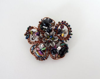 Large Statement Beaded Wire Wrapped Flower Brooch