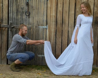 Goddess wedding dress 60's 70's vintage white boho hippie angle wing sleeve maxi princess trail back 1970's