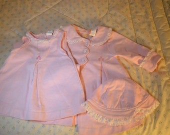 Vintage Pink Dress Coat and Hat for a Little Girl 12 Months