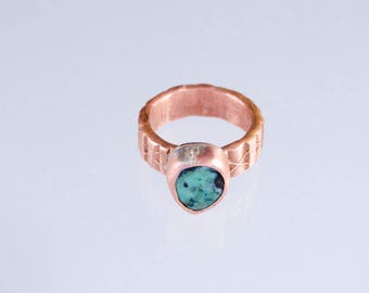 The Pacifk Image's Goodwin and Maxwell: Hand Forged and Stamped Copper and Apache Turquoise Ring. Made in USA, ships FREE in USA.