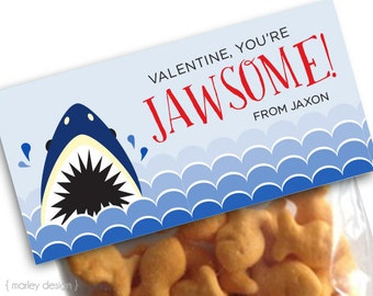Shark Treat Bag Toppers Shark Valentines Shark Party Favors Personalized Shark Toppers Printable Fish Boys Valentine's Treat Bag Topper