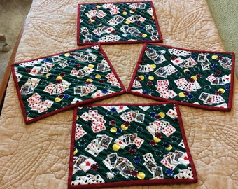 Set of 4 Poker Snack Mats, Poker Drink Mats, Cards Snack Mats, Poker Chips and Cards,