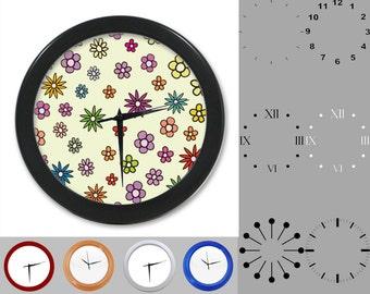 Vintage Floral Wall Clock, Mix Flower Design, Fun Crazy Artistic, Customizable Clock, Round Wall Clock, Your Choice Clock Face or Clock Dial