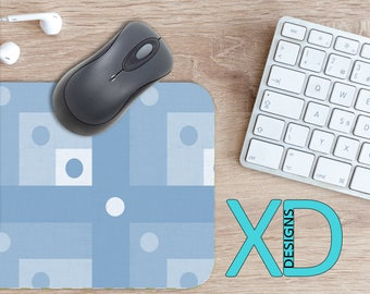 Blue Cube Mouse Pad, Blue Cube Mousepad, Square Rectangle Mouse Pad, Light Blue, Square Circle Mouse Pad, Blue Cube Mat, Computer, Dotted