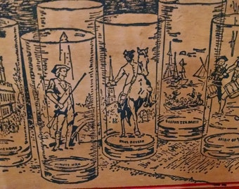Vintage, Set of 8 Bicentennial Tumbler Glass NEW never opened in original box