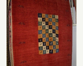 YEAR END CLEARANCE 1990s Hand-Knotted Vintage Gabbeh Persian Rug (3272)