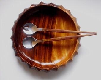 vintage serving set, salad serving set, ARNART, stainless steel, mid century serving set, serving set spoon and fork, Japan, modern